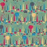 Wood Animals tapestry seamless pattern in magic colors Royalty Free Stock Photography