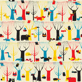 Wood Animals tapestry seamless pattern in modernistic colors Royalty Free Stock Photos