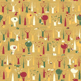 Wood Animals tapestry seamless pattern in vintage colors Royalty Free Stock Photography