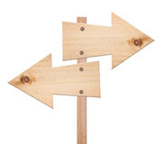 Wood arrow signs isolated, clipping path. Royalty Free Stock Image