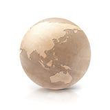 Wood Asia & Australia world map. On white background Royalty Free Stock Photos