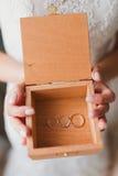 Wood ask för bröllop Royaltyfria Bilder