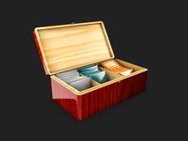 Wood ask för illustration som 3d förpackar för te och tepåsar, isolerad svart Royaltyfria Bilder