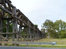 Wood Australian rail bridge royalty free stock photos