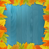 Wood autumn  background with leafs Royalty Free Stock Image