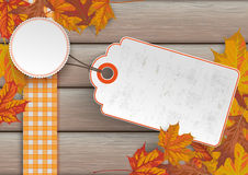 Wood Autumn Foliage Price Sticker Royalty Free Stock Images