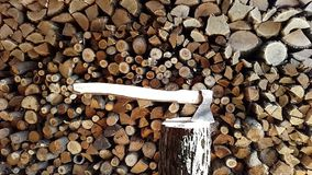 Wood and an ax.stack,abstract, stock footage