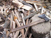 Wood and axe Royalty Free Stock Photo