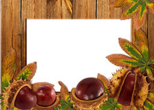 Wood background with autumn chestnuts and leaves Royalty Free Stock Photo