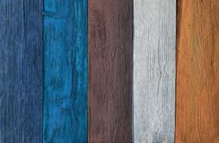Wood Background Colors, Wooden Multicolored Planks Texture. Colorful Timber Wall, blue and brown color Stock Photo