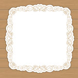Wood background with curly frame Royalty Free Stock Photos