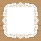 Wood background with curly frame Royalty Free Stock Photo