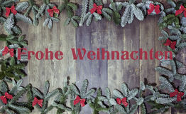 Wood background frohe weihnachten Royalty Free Stock Photography