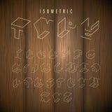 Wood background isometric alphabet. Isometric outline alphabet  font. 3D isometric letters on wood background  Three-Dimensional stock  typeset for headlines Royalty Free Stock Photos