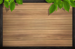 Wood background and leaves Stock Image