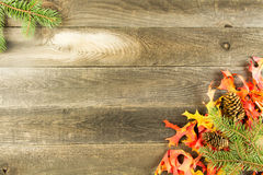 Wood background with leaves Royalty Free Stock Photos