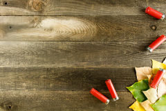 Wood background with leaves Stock Images