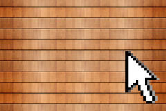 Wood background and mouse cursor Stock Image