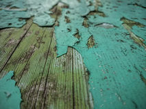 Wood background with old green peeling paint Royalty Free Stock Images