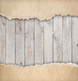 Wood background with old torn paper 3d illustration Stock Photo