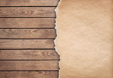 Wood background with paper 3d illustration Royalty Free Stock Image