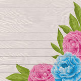 Wood background with peonies Stock Photography