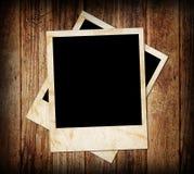 Photo frames. Wood background with photo frames Stock Image