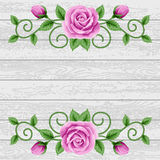 Wood background with roses Royalty Free Stock Photography
