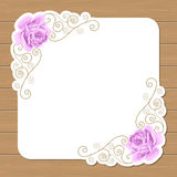 Wood background with roses Stock Images