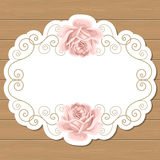 Wood background with roses Stock Photos