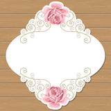 Wood background with roses Royalty Free Stock Image