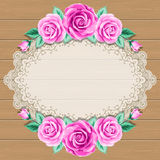 Wood background with roses Stock Photography