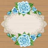 Wood background with roses. Wood background with hand drawn colorful roses and lace oval frame. Place for your text. Greeting card, invitation template Stock Photography
