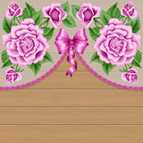 Wood background with roses Royalty Free Illustration