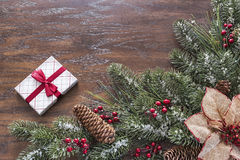 Wood background with seasonal Christmas themed border Stock Images