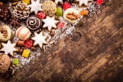 Wood background with sweets Royalty Free Stock Photos