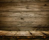 Wood background - table with wooden wall Royalty Free Stock Photos