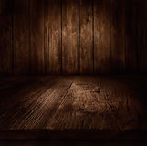 Wood background - table with wooden wall Stock Photos