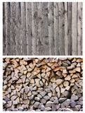 Wood background texture collage. Two wood background patterns. Collage Stock Photo