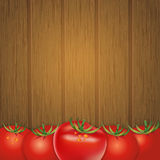 Wood background with tomatoes, vector illustration Royalty Free Stock Photography