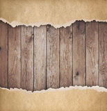 Wood background with torn paper 3d illustration Royalty Free Stock Photography