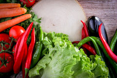 Wood background vegetables. Vegetables Food Concept and Decoration royalty free stock images
