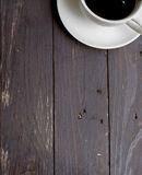 Wood background with white coffee Stock Images
