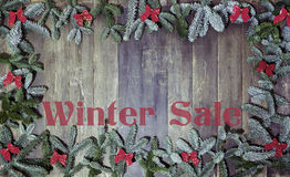 Wood background winter sale Stock Image