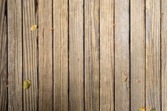 Wood Background. Wooden dock with leaves on it royalty free stock photography
