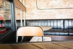 Wood backrest chair in cafe shop Stock Photos