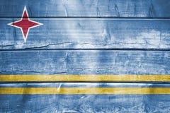 Wood backround eller textur med att blanda den Aruba flaggan Royaltyfri Fotografi