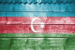 Wood backround or texture with blending  Azerbaijan flag Stock Photos