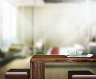 Wood bakgrund för tabellöverkanten i sovrummet 3d framför Arkivbild