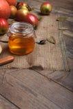 Wood bakgrund med färgrika äpplen, en glass krus av honung och en sked på en ustic servett, närbild Autumn Harvest royaltyfria foton